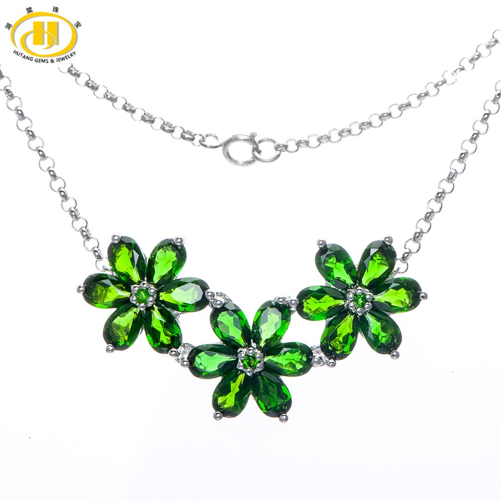 Hutang 7.97Ct Natural Green Chrome Diopside 925 Sterling Silver Necklaces Floral Pendants Fine Jewelry цена и фото