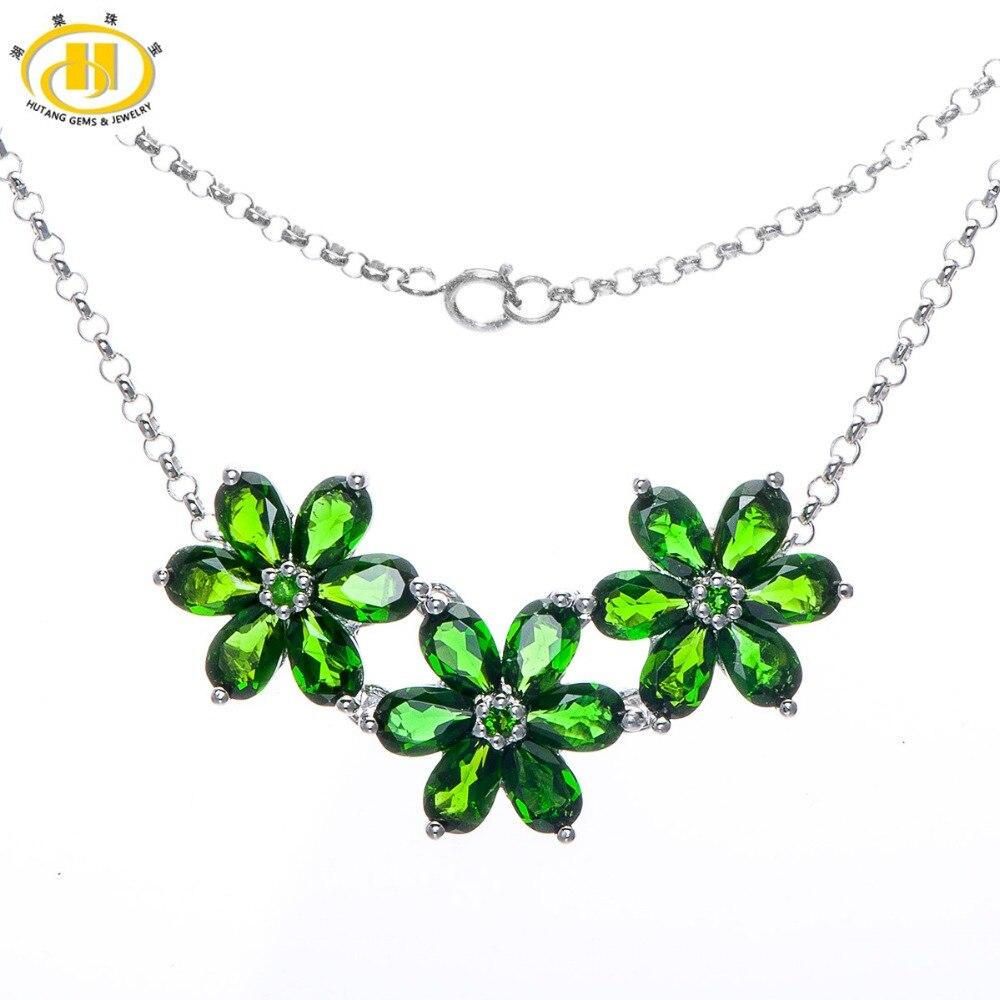 Hutang 7.97Ct naturel vert Chrome Diopside 925 colliers en argent Sterling pendentifs floraux bijoux fins