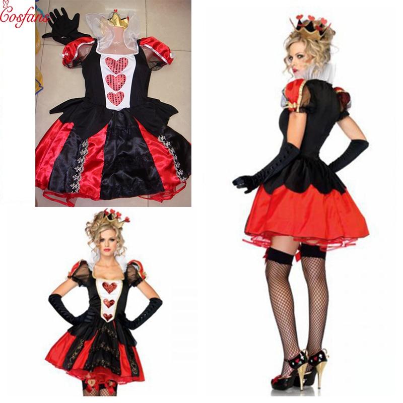 Alice In Wonderland Cosplay Costume Queen Of Hearts Costume Red Queen Costume Female Elegant Dress Cosplay Dress gloves headwear
