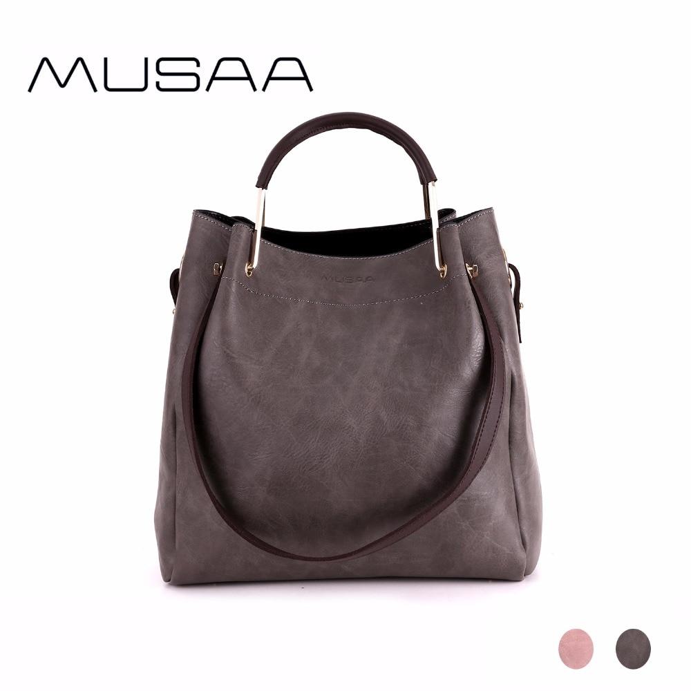 MUSAA Composite de Mode Femmes sac à bandoulière pour Fille PU Matériel En Cuir Simple Multi-but Solide Couleur Ladys Sacs À Main