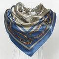 Nueva Cadena Gris Azul Bufandas Chales de Seda Patrón de la Cadena Azul de Satén de Poliéster Cuadrado Grande Bufanda Impresa Mujeres de Seda de La Bufanda