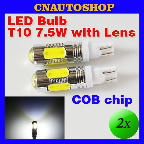 Flytop T10 7.5W High Power with LENS COB Car LED Lamp W5W 194 168 12V XENON White Reverse Light Parking Bulb (2 PCS)