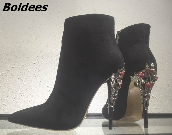 New Fancy Design Black Suede Thin High Heel Shirt Boots Stylish Women Pointy Metal Flower Decorated Stiletto Heel Ankle Boots new arrival awesome pink silk metal stiletto high heel shoes women fancy metal branch decoration thin heel pointy pumps hot sell