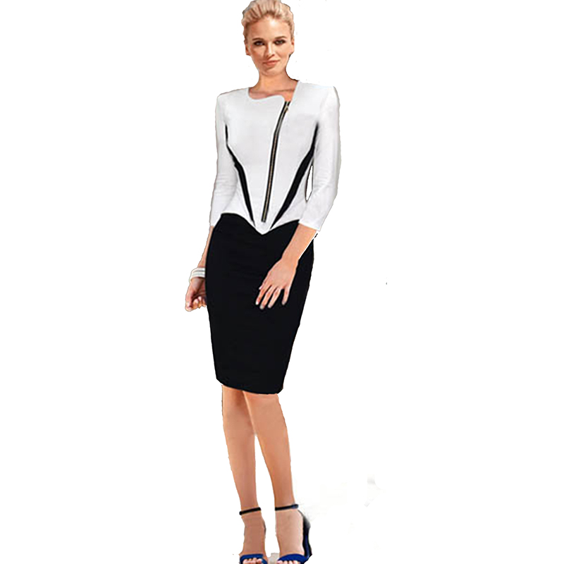 Black White Patchwork Zipper Front Ladies Dresses Women Career