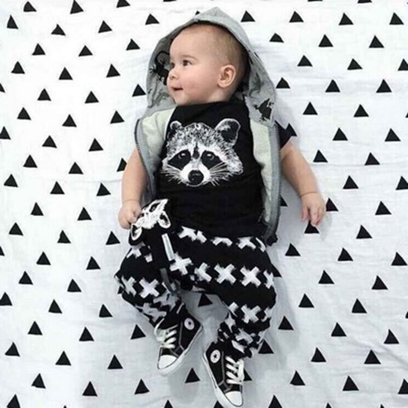 2017 Summer Style Baby Girls Boys Clothing Set Infant Fox Cotton Little Monsters Short Sleeve Baby Uniseex Clothes monsters of folk monsters of folk monsters of folk
