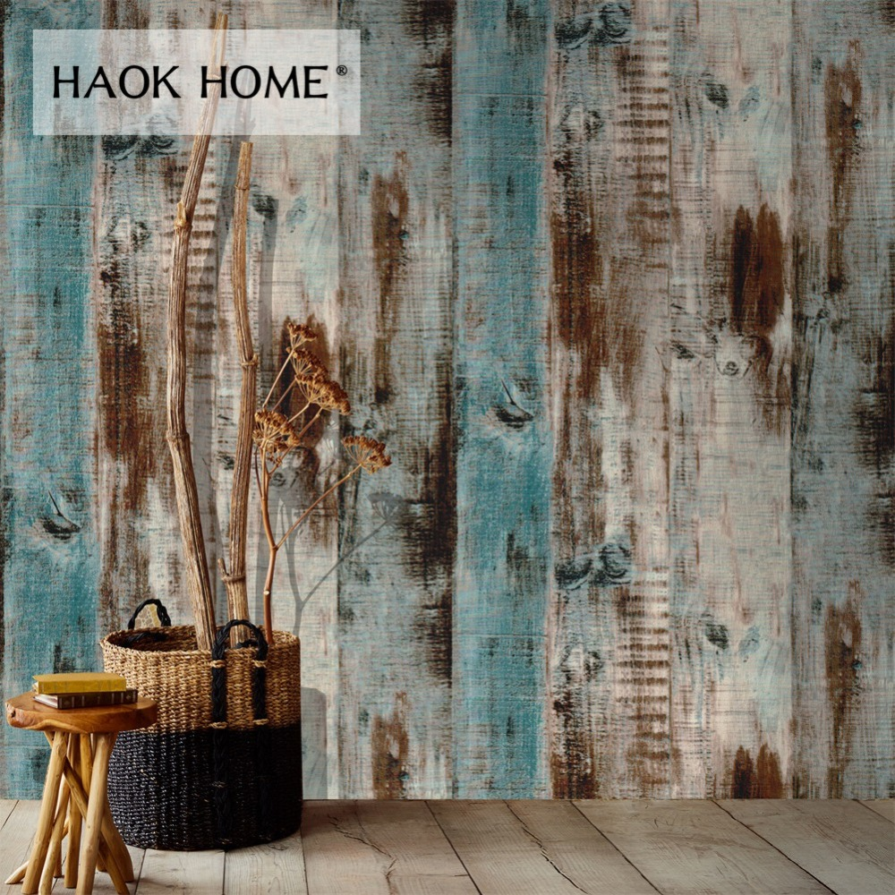 HaokHome Vintage Faux Wood Wallpaper for wall 3d self adhesive Contact paper Roll Brown Bedroom for Living room Wall Decor haokhome 3d rustic wood grain vinyl self adhesive wallpaper rolls tan brown black living room study room wall papers home decor