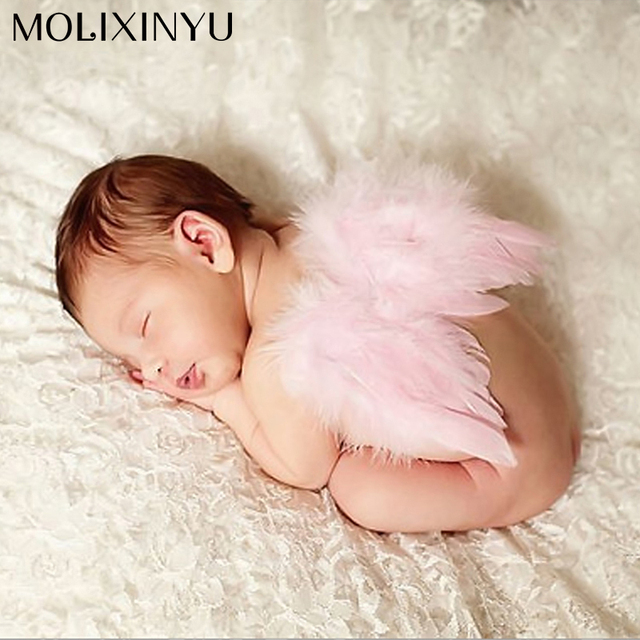 Super cute soft adorable newborn baby girls feather clothes skirt set lace angel wing
