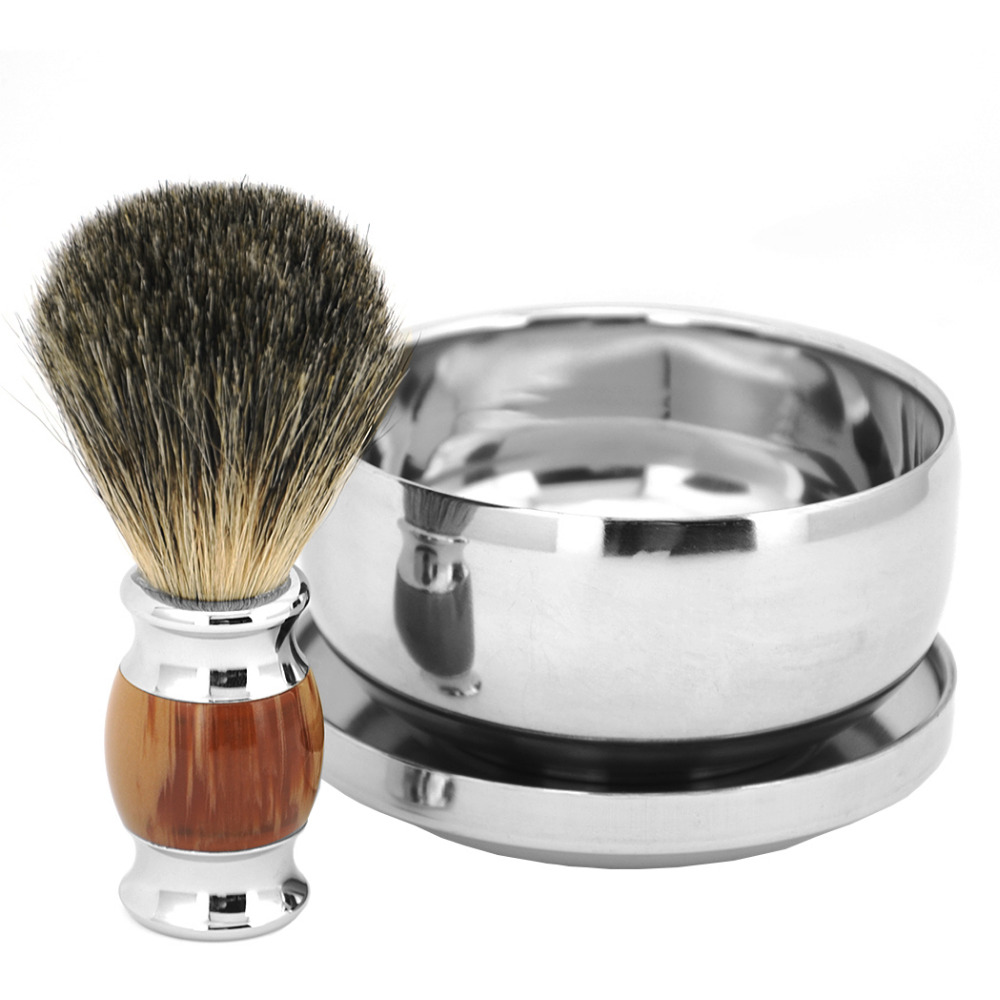 ZY Barber 100% Pure Badger Hair Wet Shaving Beard Brush + Shaving Soap Mug Bowl Cup Men Shave Razor Kit 1