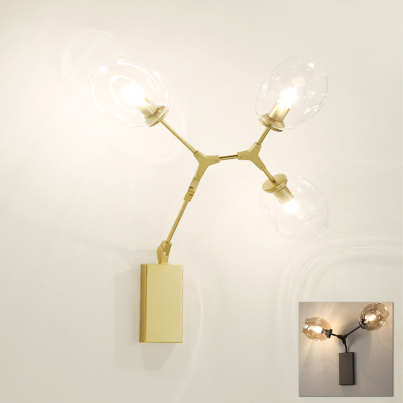 Post modern American decorative mounted wall lamp light gold living room foyer 2 3 lights wall