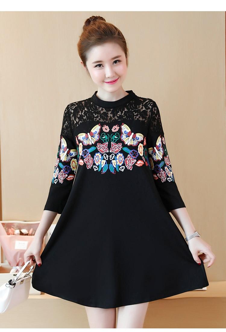 XXXXLPlus Size Summer Women Lace Dress Black Butterfly Print Sexy Vintage Party Beach Maxi Dresses 3/4 Sleeve O-neck Vestido 12