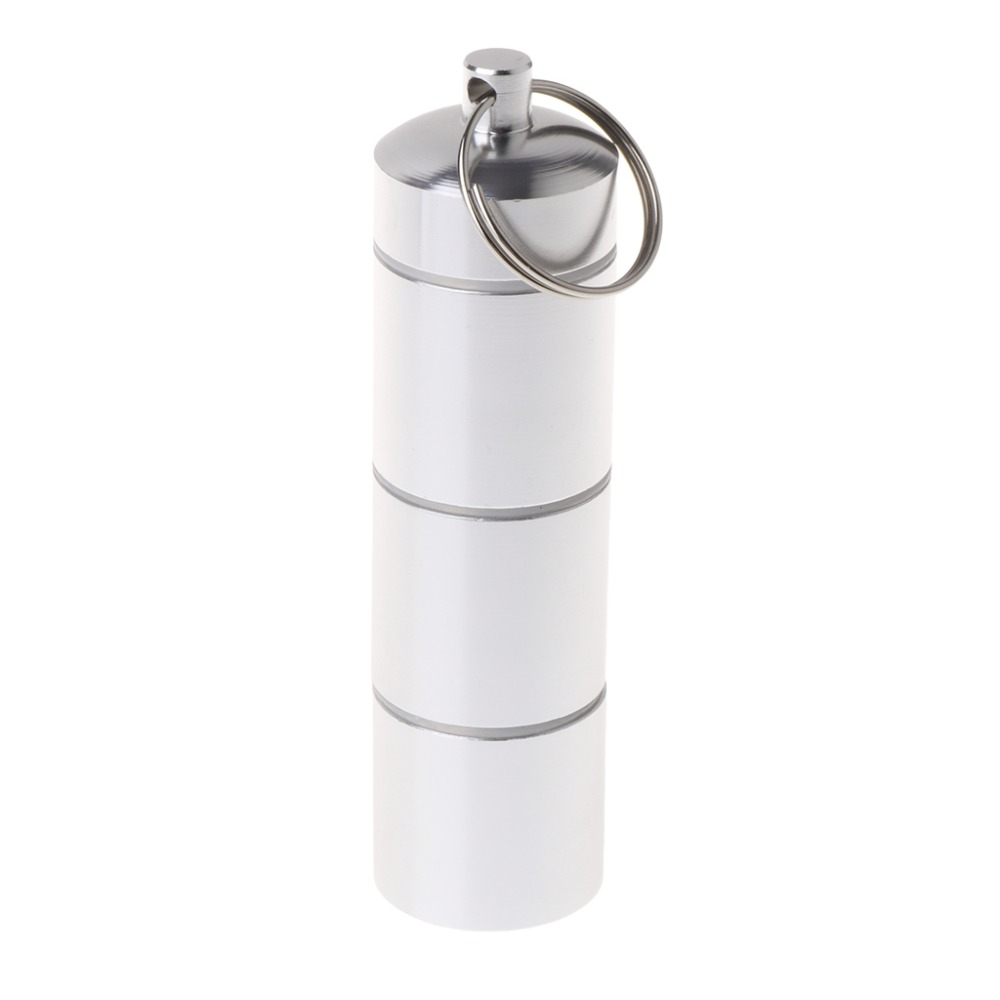 ZLROWR Aluminum Alloy Pill Box Bottle Holder Portable Container Keychain Medicine Case 4 bell ornament aluminum alloy keychain silver