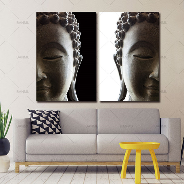 Wall Picture Art Canvas Painting Home 2 Penel Buddha Modern Living Room Decorative