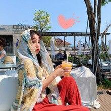 1 Piece Fashion Elegant Flower Tulips Pattern 180x90cm Women Sunscreen Cotton Linen Beach Scarf Silk bandana beach Shawl wraps