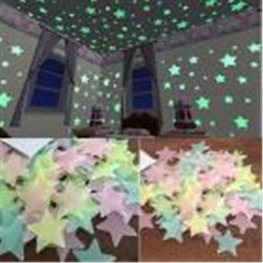 2018 hot sale 100PC Kids Bedroom Fluorescent Glow In The Dark Stars Wall Stickers home d ...