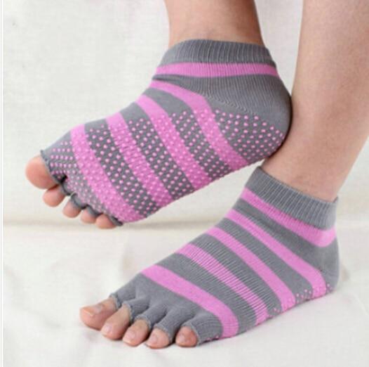 Free Shipping Pink Yoga Socks Pilates Sexy Hot Teen Girsl No Skid Toe Cotton Balance Yoga