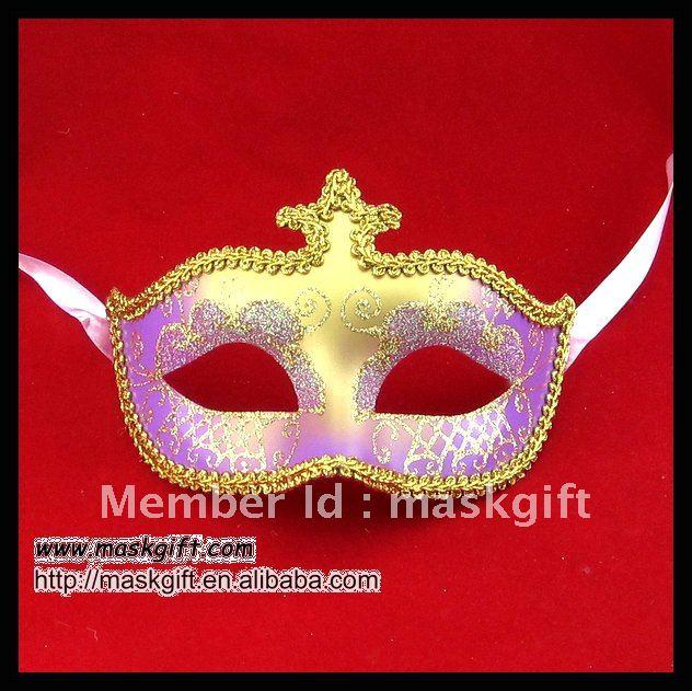 Дешевая цена Популярная фиолетовая и Золотая Маскарадная маска, венецианская маска на пол-лица