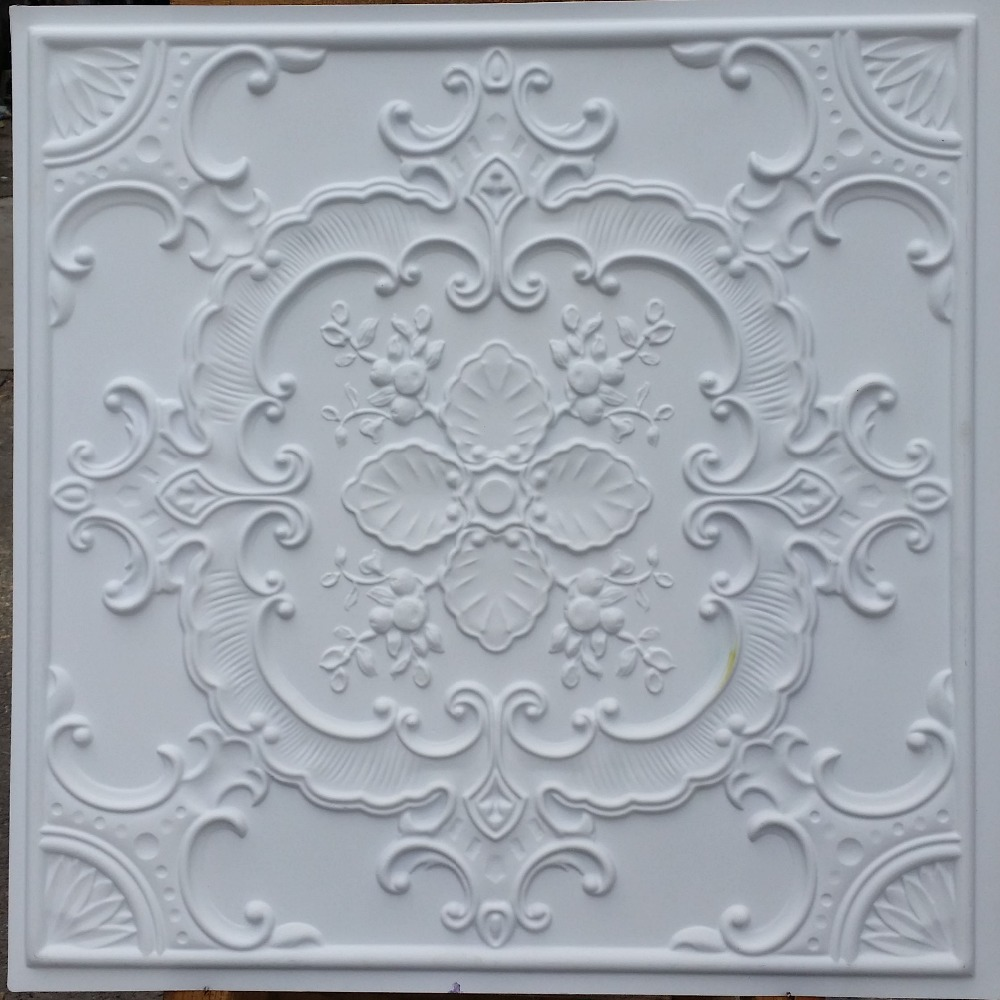 PL19 faux paint ceiling tiles white matt 3D embossed