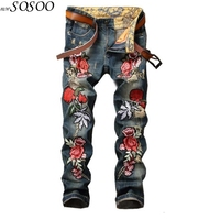 Brand jeans men denim flowers of embroidery designer jeans men high quality classic and fashion men jeans #0791