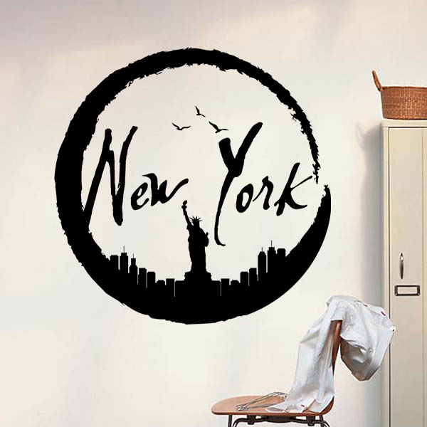 American new york statue of liberty silhouette pattern wall american new york statue of liberty silhouette pattern wall stickerdecal wedding decoration wallpaper kids rooms decoration in wall stickers from home junglespirit