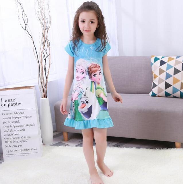 7f03e7580c9 Платья принцессы Эльза Анна София платье принцессы для девочек Ночная  рубашка Дети платье Ночная Пижама Платье