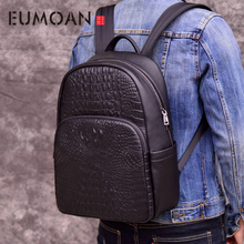 EUMOAN Men Leather Backpack Men Large Capacity Rucksack  Crocodile Male Back Pack vintage business laptop backpack computer bag brand designer male genuine leather laptop back pack rucksack top quality travel backpack men notebook computer bag black