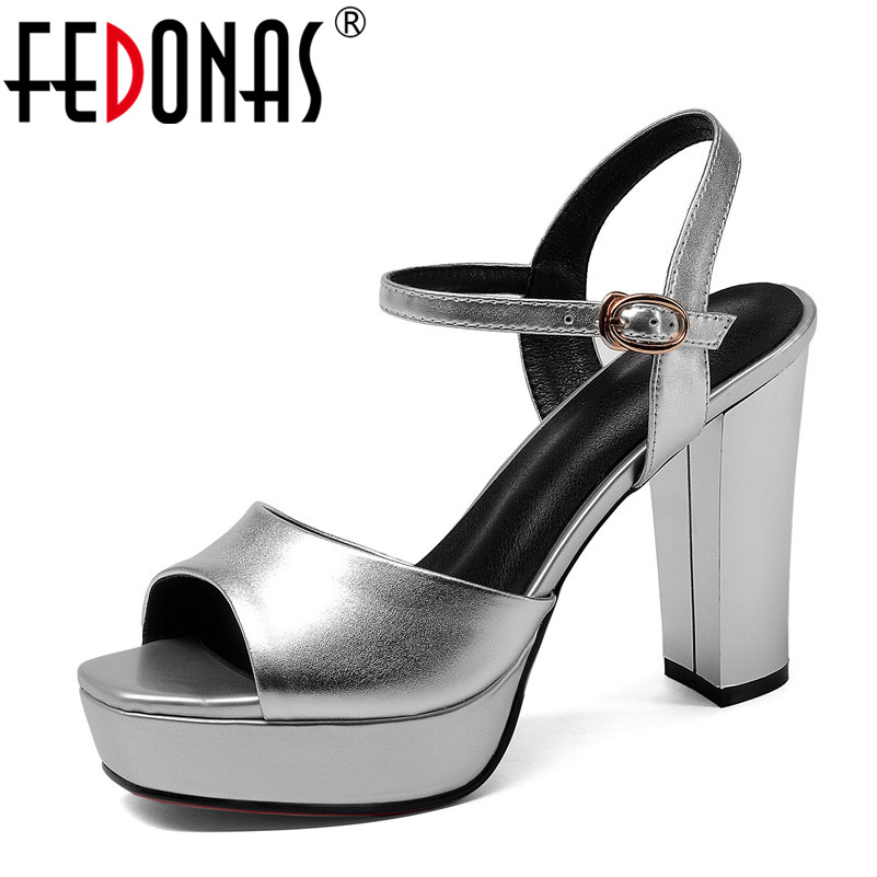 FEDONAS Women High Heels Sandals Summer Square Heels Platforms Shoes Woman Ladies Sexy Party Wedding Shoes Black Silver Pumps luxury brand crystal patent leather sandals women high heels thick heel women shoes with heels wedding shoes ladies silver pumps