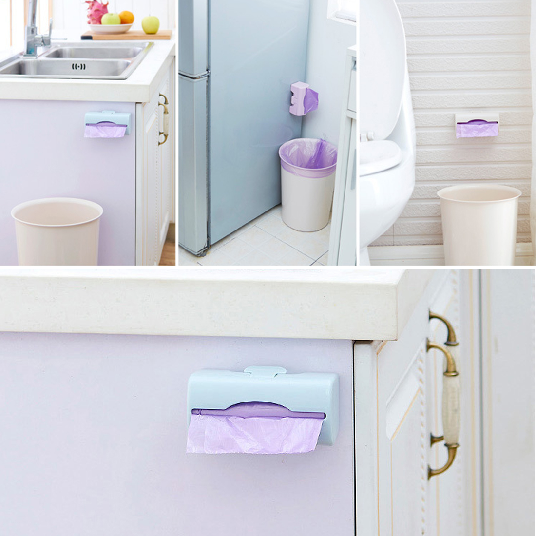 Kitchen garbage trash bags dispenser wall mounted plastic - Plastic bathroom storage containers ...