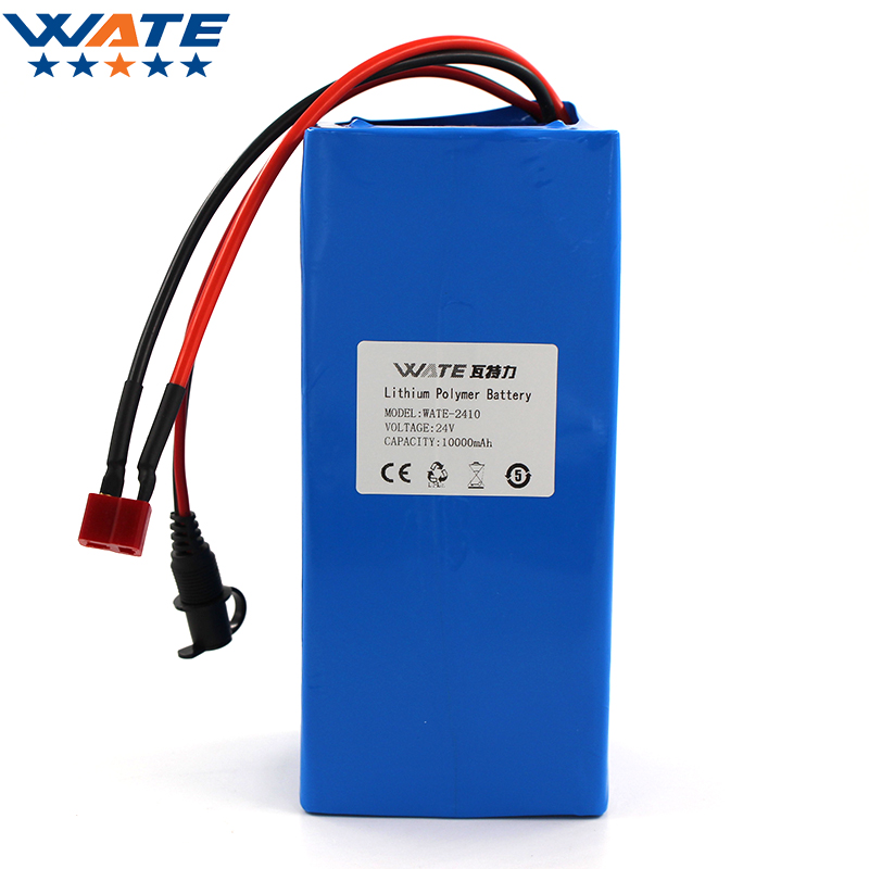 WATE 24V 10000mAh Li-ion battery pack DC 15A current discharge 24V li-ion polymer battery With 29.4V2A charger free customs taxes super power 1000w 48v li ion battery pack with 30a bms 48v 15ah lithium battery pack for panasonic cell