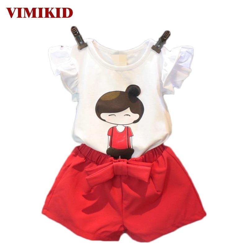 VIMIKID 여름 스타일 아기 걸스 의류 세트 만화 t- 셔츠 - 아동복