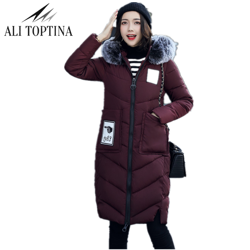 ALI TOPTINA Female Jacket Winter Parka Woman  Winter Long Cotton Loose Coat Winter Jacket Cotton-padded Snow Wear Outerwear Mf18  naim fraimlite level long cherry ali