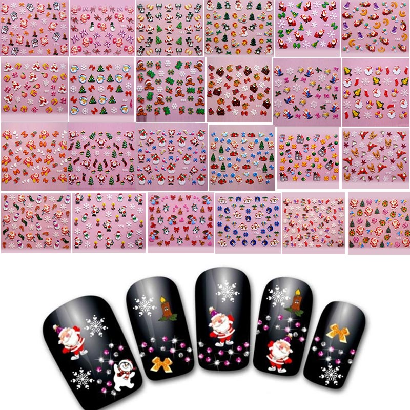 Fashion DIY Nail Art Stickers Decal Christmas Santa Claus Snowflakes Manicure Decoration Tools YF2017 15 bag french manicure smile tip guides pedicure diy nail art stickers brand women makeup tools for nail art