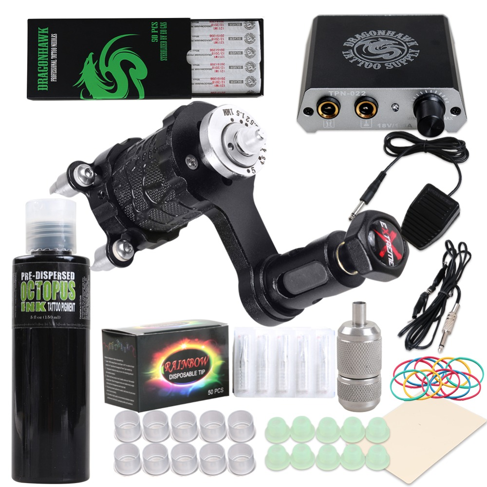 Beginner Complete Tattoo Kit Extreme Rotary Machine Power Supply OCTOPUS BLACK Ink Needles Grip TipsBeginner Complete Tattoo Kit Extreme Rotary Machine Power Supply OCTOPUS BLACK Ink Needles Grip Tips