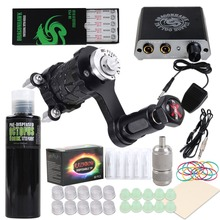 купить Beginner Complete Tattoo Kit Extreme Rotary Machine Power Supply OCTOPUS BLACK Ink Needles Grip Tips дешево