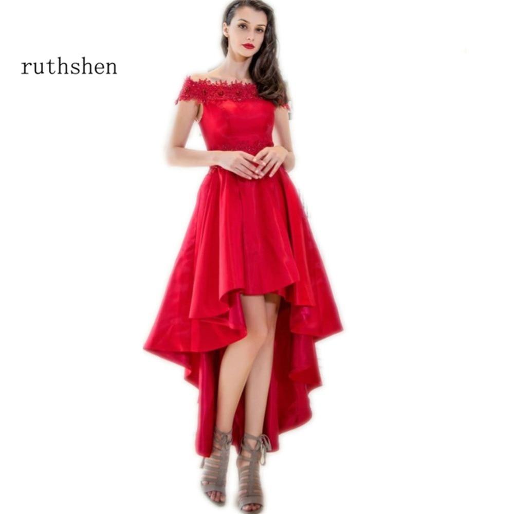 ruthshen   Prom     Dresses   2018 High Low Off Shoulder Appliques Beaded Short Front Long Back Red Elegant Formal Evening Gowns