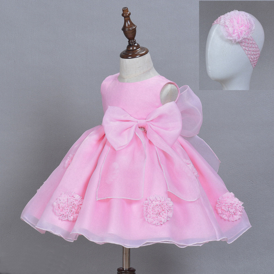 Latest Bow Girl Dresses Baby Solid Pink Ball Sleevless Vestido For 1 Year Birthday Party Formal Baby Clothes 2018 154715
