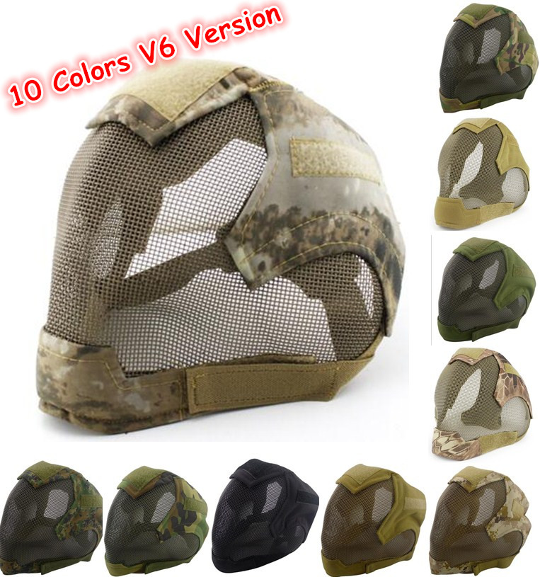 V6 High Quality Steel Net Mesh Mask Full Face Protective Cosplay Tactical Mask Cover Face Ears Airsoft Military Paintball Masks