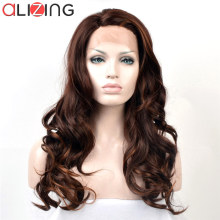 Alizing Front Lace Wig Dark Brown L Part lace frontal Synthetic Hair Long Big Loose Wave Wigs For Africa k015