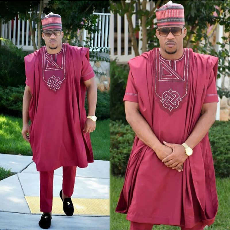 H & D アフリカ男性服 3 枚セットメンズ dashiki シャツアフリカバザンリッシュ衣装服ドレストップスパンツスーツキャップなし