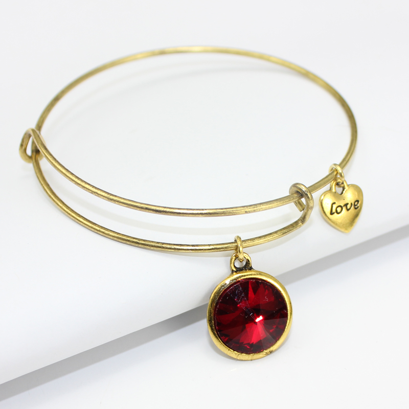 Mode 12 Birthstone Charm Armband Verstellbare Gold Expandable Wire - Modeschmuck - Foto 5