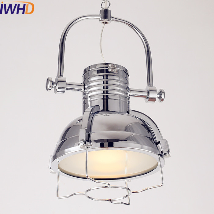 IWHD Siliver Loft Style Industrial Pendant Lighting Fixtures American Lampe Vintage Lamp Hanging Light Lamparas Pendente 2pcs american loft style retro lampe vintage lamp industrial pendant lighting fixtures dinning room bombilla edison lamparas