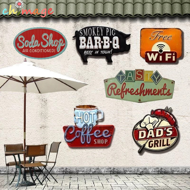 Warna khusus Vintage Tin Sign plak Bar pub rumah House Cafe Restaurant Wall Decor Art Poster Retro Logam