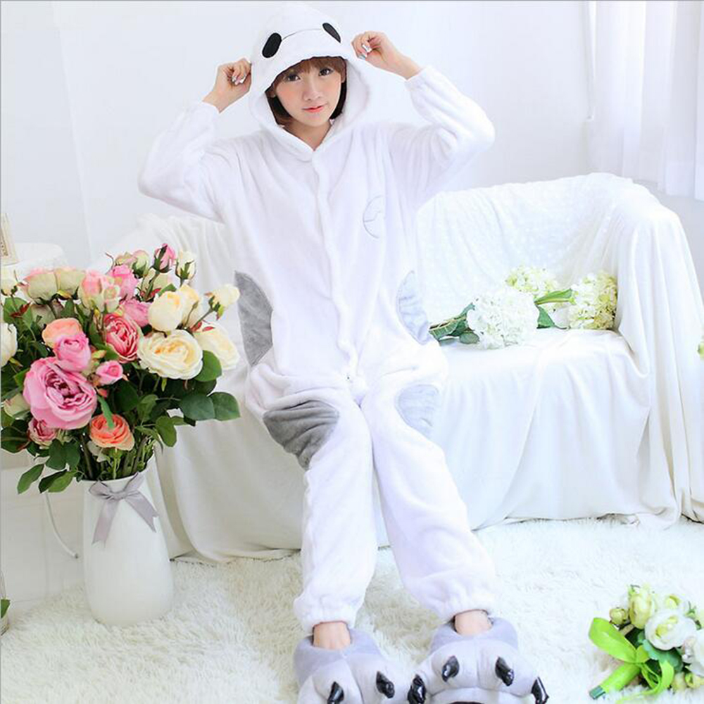 Big Kigurumi White Onesie Adult Women Cute Pajamas Flannel Warm Loose Soft Sleepwear Onepiece Winter Jumpsuit Cosplay ...