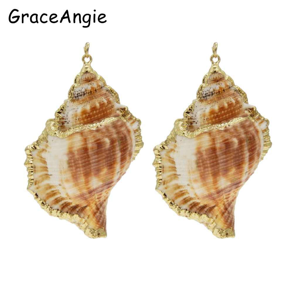 Fashion Shell Charm Pendants Conch Natural Rose Gold for jewelry making DIY KC Gold Metal  jewelry making