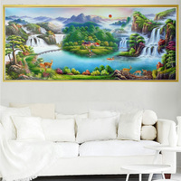 Full Drill Diamond Painting Cross Stitch Mountain Waterfall Landscape DIY Diamond Embroidery Kit For Living Room Decoration