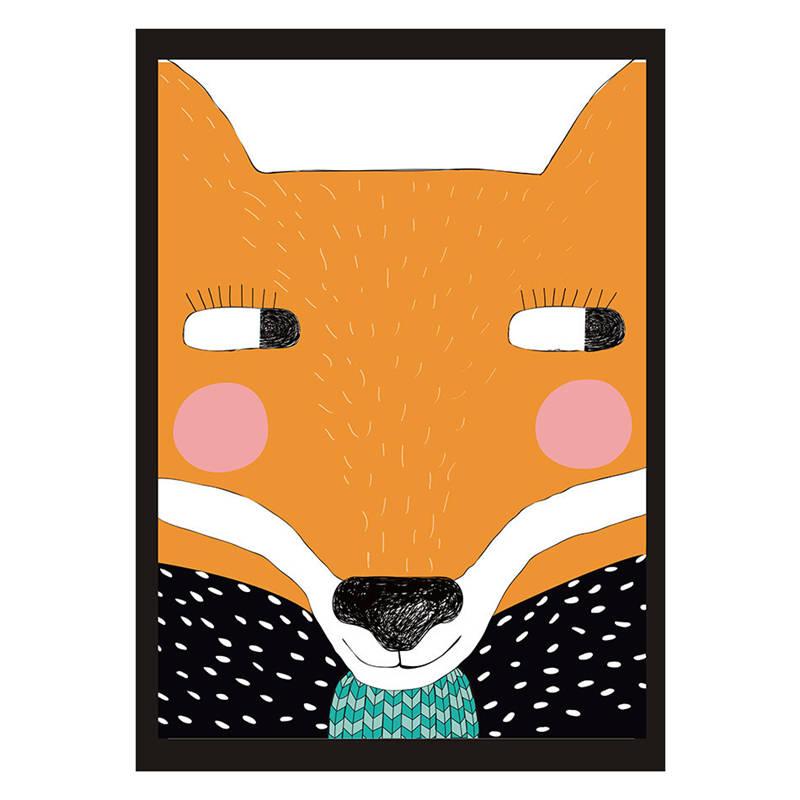 Nordic в детской комнате-декоративные холст картина плакат Куадрос decoracion мультфильм животных Фокс абстрактная картина маслом бескаркасных