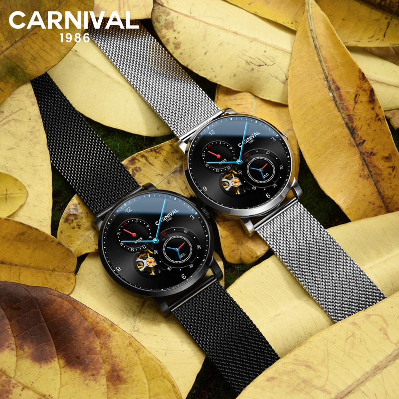 CARNAVAL Hollow Movement Blue Point Sport Watch Mens Watches Top Brand Luxury Automatic Mechanical Watch relogio