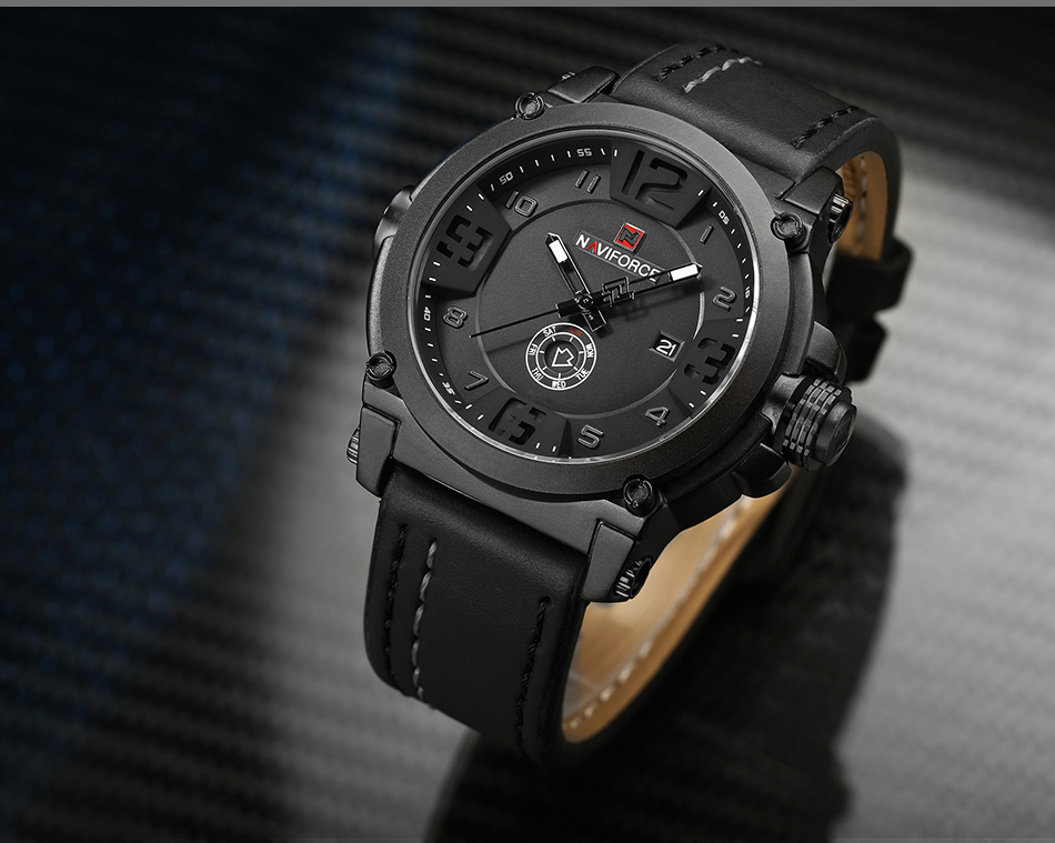 IA2A4137  High Model Luxurious NAVIFORCE Males Sports activities Watches Males's Military Navy Leather-based Quartz Watch Male Waterproof Clock Relogio Masculino HTB1Yx45joQIL1JjSZFhq6yDZFXaF