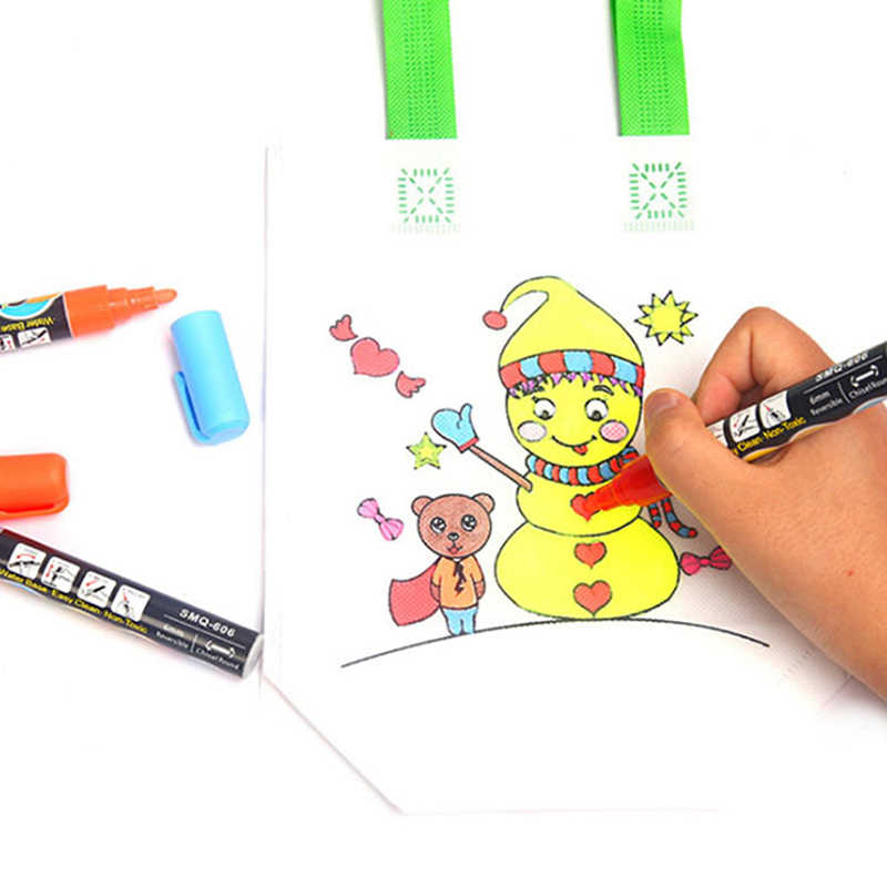 Puzzle zabawki edukacyjne dla dzieci DIY ochrona środowiska worek z motywem Graffiti przedszkole materiały do malowania ręcznego