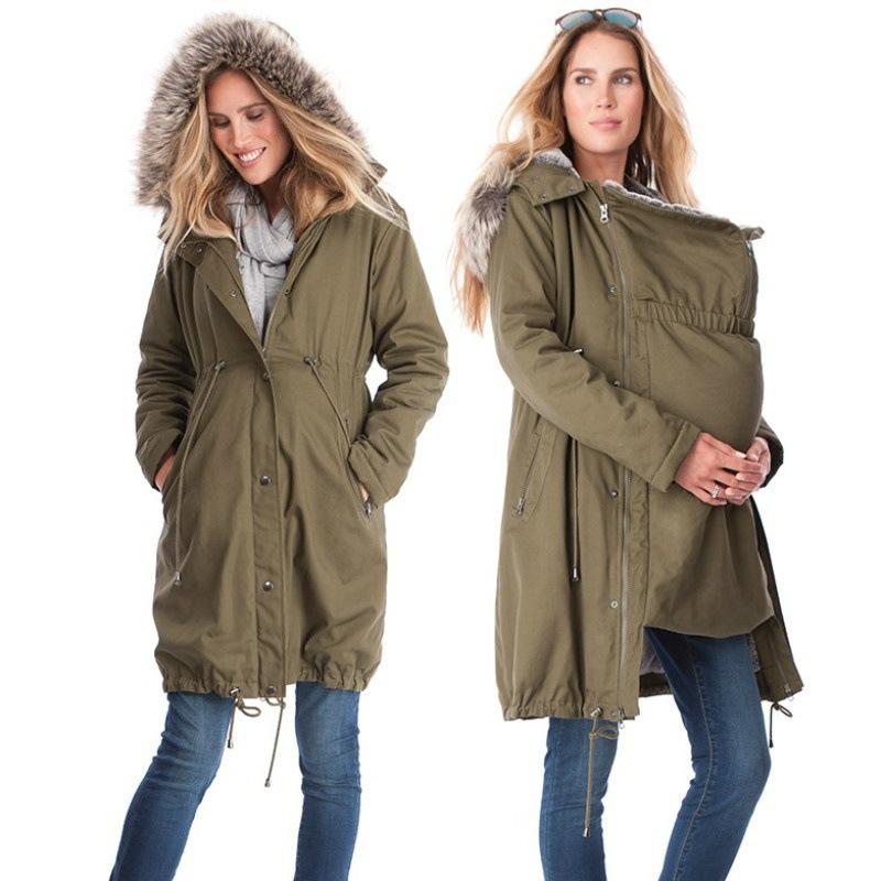 purchase cheap 1e138 33821 Winter Mutterschaft Schwangerschaft Jacken für Babytrage Kleidung Känguru  Mutter Fell mit Kapuze dünnen Mantel für Schwangere Frau Outwear Plus