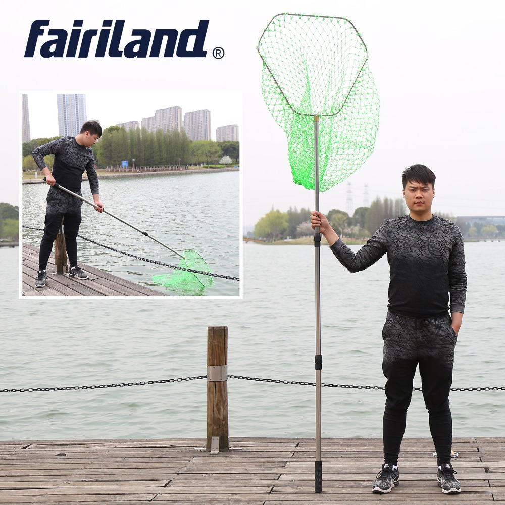 2.6m Large Landing Net 60cm*60cm/24in*24in triangle aluminum 12mm thick hoop 2mm nylon retractable Hand net scoop net dip nets hollow stainless steel dip net of ring diamter 40cm 60cm for landing net of head turck net accessories folding triangle ring